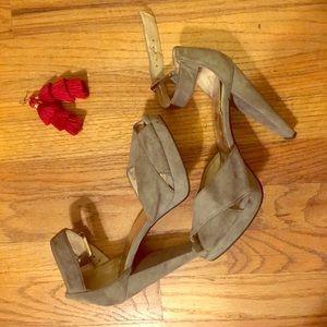 Gray suede ankle strap Michael Kors heels!